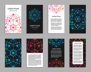 Flyer design inspired by sacred geometry. Vertical blanks with sacral geometric signs. Line art colorful brochure pattern.  Front and back pages. Clipping masks. EPS 10 vector card templates.