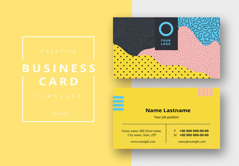 Business Card Layout with Bright, Bold Patterns
