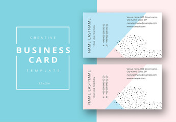 Business Card Set with Pastel Elements and Black Dots