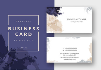 Business Card Layout with Watercolor Brush Effects