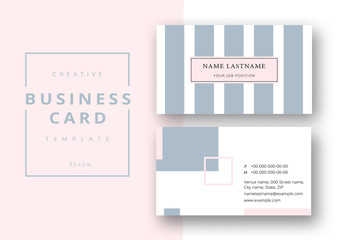 Business Card Layout with Gray and Pink Design Elements