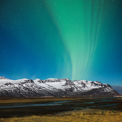 Amazing polar light in Iceland