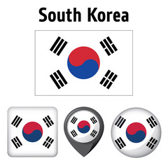 Illustration flag of South Korea, and various icons. Ideal for catalogs of institutional materials and geography