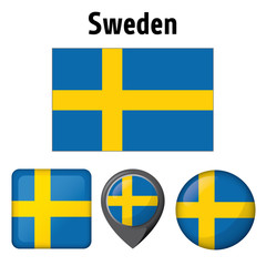 Illustration flag of Sweden, and various icons. Ideal for catalogs of institutional materials and geography