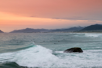 Group of surfers riding waves at sunset