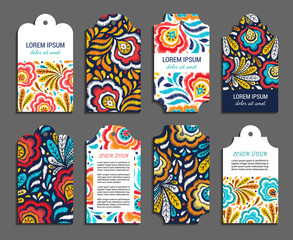 Embroidery floral vertical colorful tag set. Ethnic ornamental blanks with flower and leaf pattern of autumnal colors. Rustic design brochures inspired by russian khokhloma ornament. EPS 10 vector