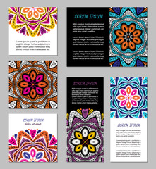 Embroidery style flyer set with bright colorful mandala. Ethnic ornamental blank. Oriental design concept. Eastern collection. EPS 10 vector. Clipping masks