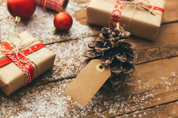 Christmas on sale with price tag, shopping in Winter, Boxing day. Xmas promotion, Shopping background.