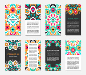 Embroidery style vertical flyer set with bright colorful mandala. Front and back pages. Ethnic ornamental blank. Oriental design concept. Eastern collection. EPS 10 vector. Clipping masks