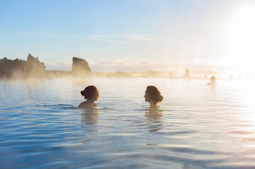 People in a thermal spring Myvatn