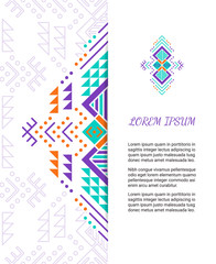 Aztec style colorful ornate card. Ornamental blank with ethnic motifs. Tribal graphic design concept. Paper brochure template. EPS 10 vector illustration. Clipping mask.