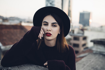 Fashion blogger shoot on a rooftop