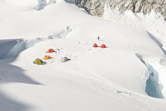 Advanced basecamp set up on glacier between  crevices in Cordillera Blanca, Andes