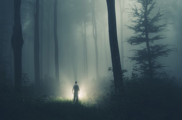 Alien in dark mysterious forest with strange light