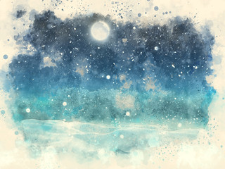 Abstract watercolour painting of a winter snow landscape