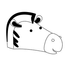 zebra cartoon head in black dotted silhouette vector illustration