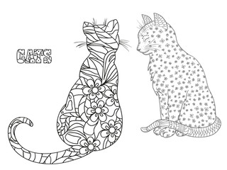 Cats .Outline for t-shirts. Zentangle. Hand drawn cat with abstract patterns on isolation background. Design for spiritual relaxation for adults. Print for polygraphy, posters and textiles
