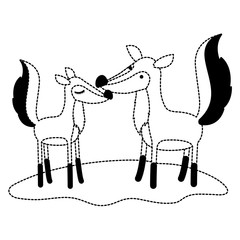 fox couple over grass in black dotted contour vector illustration
