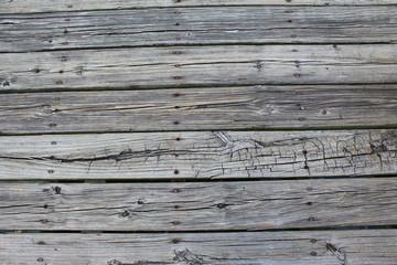 Wooden slats nailed down