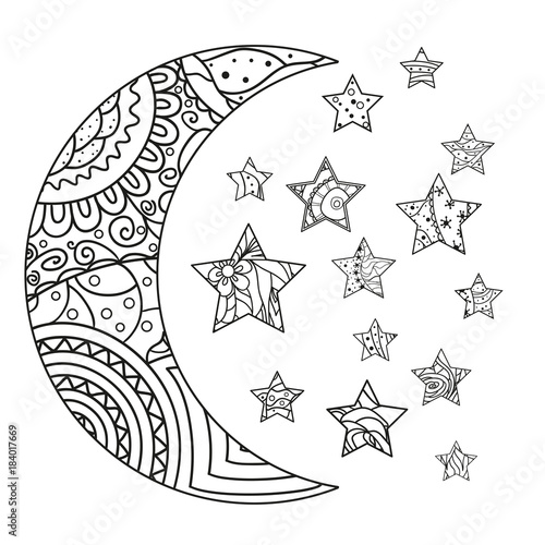 Moon And Star With Abstract Patterns On Isolation Background Design For Spiritual Relaxation Adults