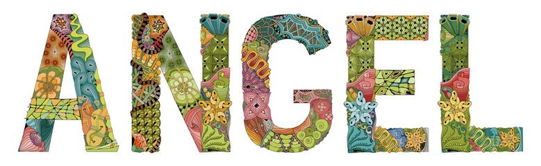 Word ANGEL. Vector decorative zentangle object