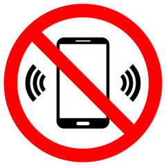 NO CELL PHONES USE crossed out sign. Keep silence symbol. Smartphone icon in red circle. Vector.