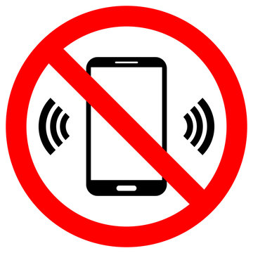 NO CELL PHONES USE crossed out sign. Keep silence symbol. Smartphone icon in red circle.