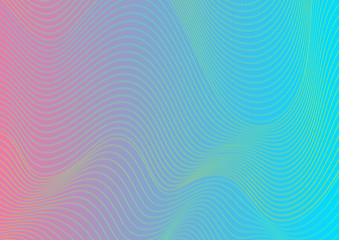 Colorful curved wavy lines pattern design