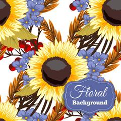 Beautiful floral design. Seamless pattern. Vector Illustration