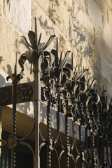 Wrought iron window grill detail