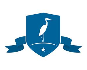 blue emblem stork
