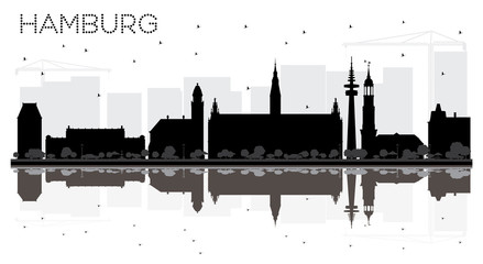 Hamburg Germany City skyline black and white silhouette with Reflections.