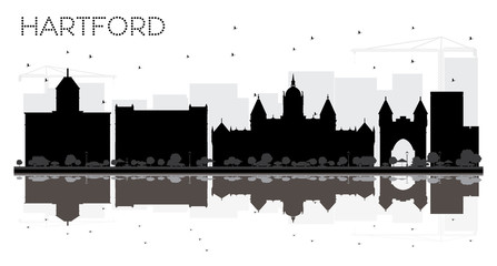 Hartford Connecticut USA City skyline black and white silhouette with Reflections.