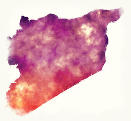 Syria watercolor map in front of a white background