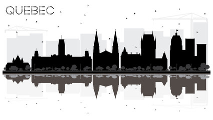 Quebec Canada City skyline black and white silhouette with Reflections.