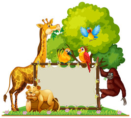 Wild animals around wooden frame