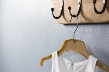 Dress hanging on hook