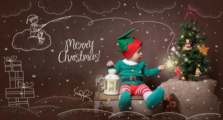 Christmas magic card with Elf boy