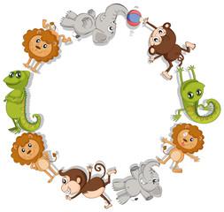 Round border with wild animals