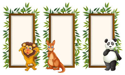 Frames with wild animals and leaves