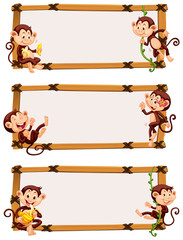 Three banner template with happy monkeys