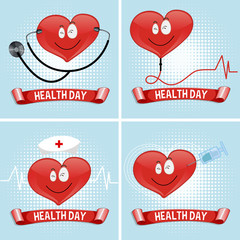 Health day background with heart and medical equipment