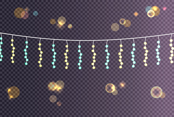 Electric Garland Made Small Balls hanging Vector