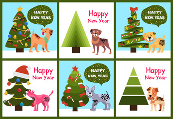 Happy New Year Posters Set Christmas Trees Puppies