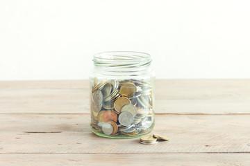 Coins in jar