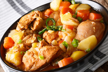 Spicy stewed chicken with vegetables close-up in a bowl. horizontal