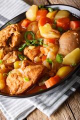 Korean chicken stew Dakdoritang with vegetables close-up in a bowl. vertical