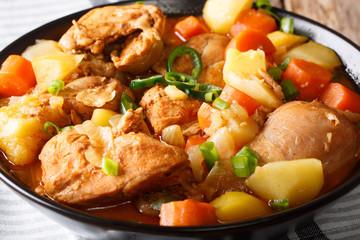 Dakdoritang - Spicy Korean Chicken Stew closeup. Horizontal