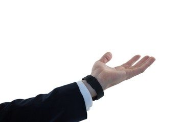 Businessman pretending to hold an invisible object