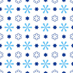 Blue christmas seamless pattern. Blue snowflakes on the white background